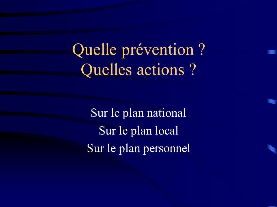 Quelle prévention Quelles actions
