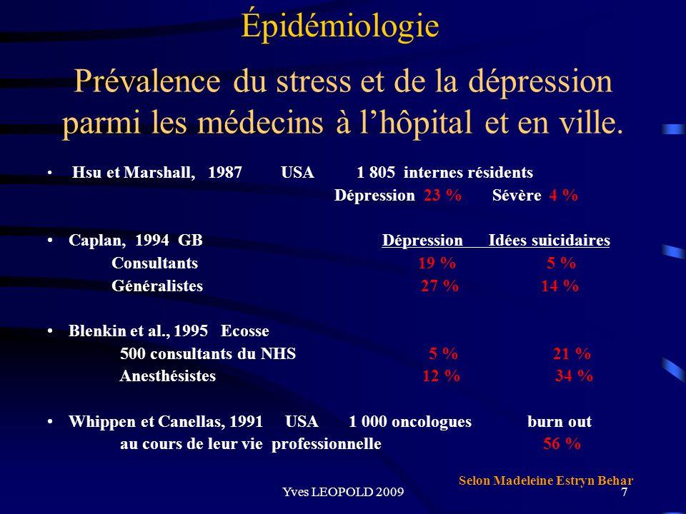 Épidémiologie Prévalence du stress et de la dépression parmi les médecins à l'hôpital et en ville.