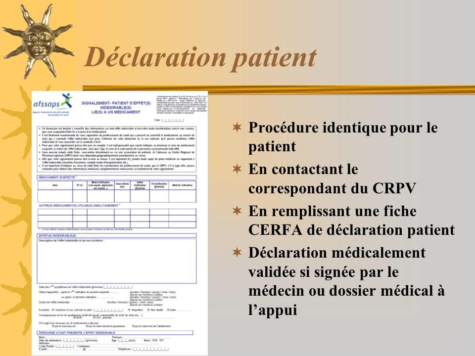 Déclaration patient Procédure identique pour le patient
