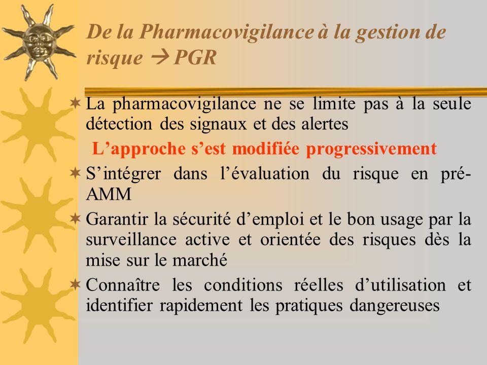 De la Pharmacovigilance à la gestion de risque  PGR