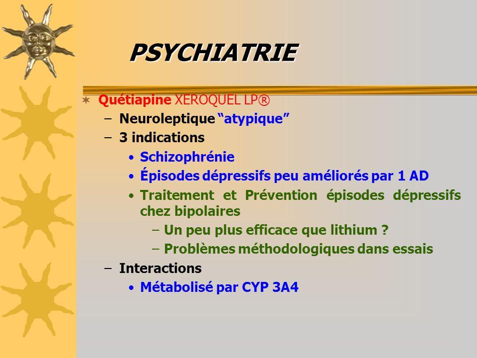 PSYCHIATRIE Quétiapine XEROQUEL LP® Neuroleptique atypique