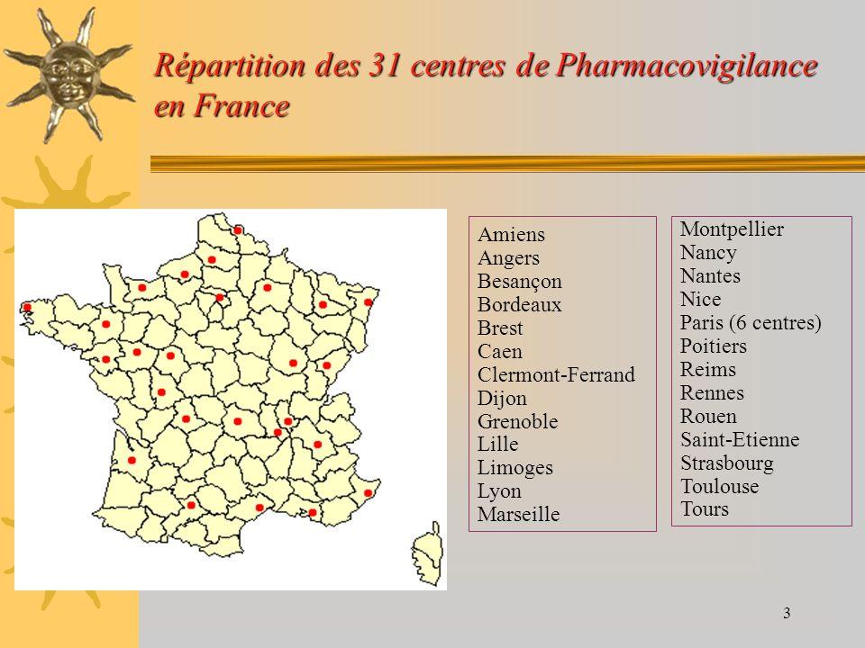 Répartition des 31 centres de Pharmacovigilance en France
