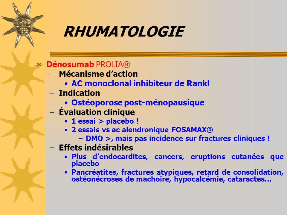 RHUMATOLOGIE Dénosumab PROLIA® Mécanisme d'action