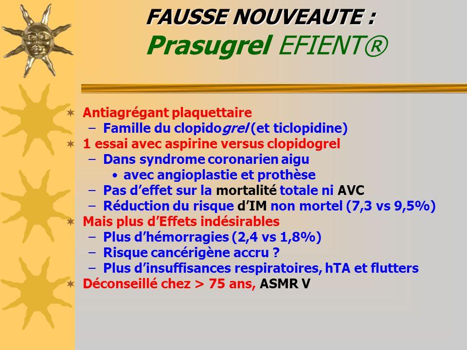 FAUSSE NOUVEAUTE : Prasugrel EFIENT®