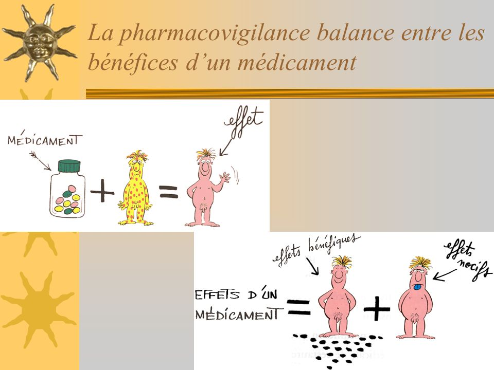 La pharmacovigilance balance entre les bénéfices d'un médicament