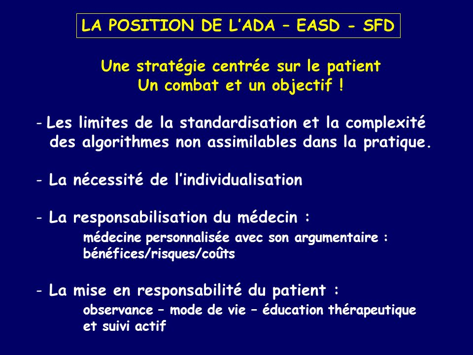 LA POSITION DE L'ADA – EASD - SFD