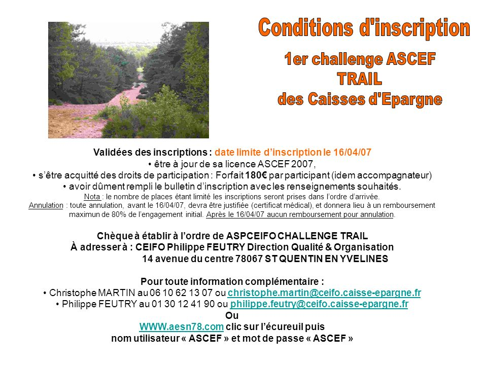 Conditions d inscription