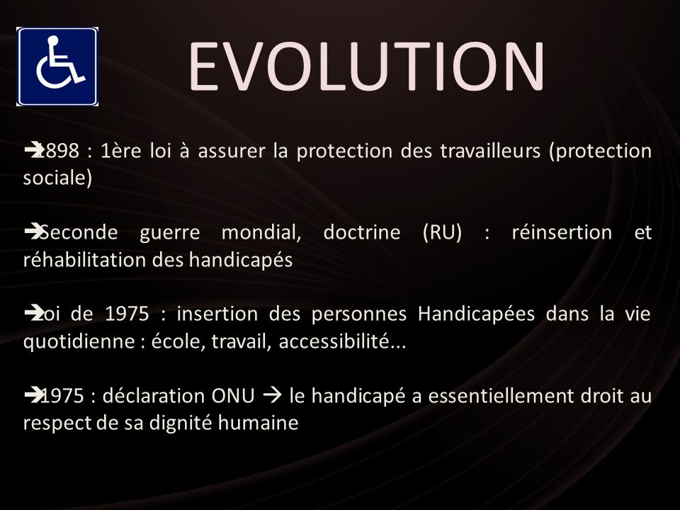EVOLUTION1898 : 1ère loi à assurer la protection des travailleurs (protection sociale)