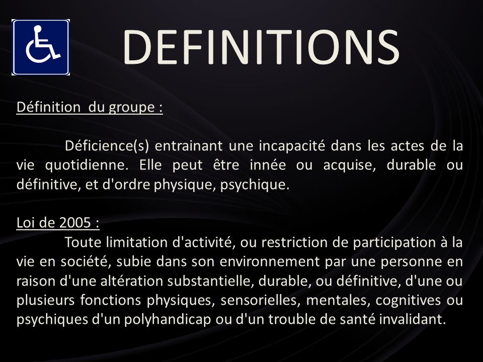 DEFINITIONS Définition du groupe :