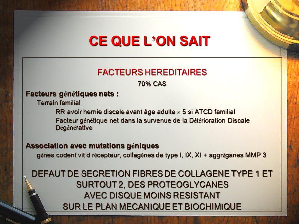 CE QUE L'ON SAIT FACTEURS HEREDITAIRES