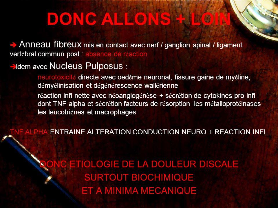 DONC ETIOLOGIE DE LA DOULEUR DISCALE