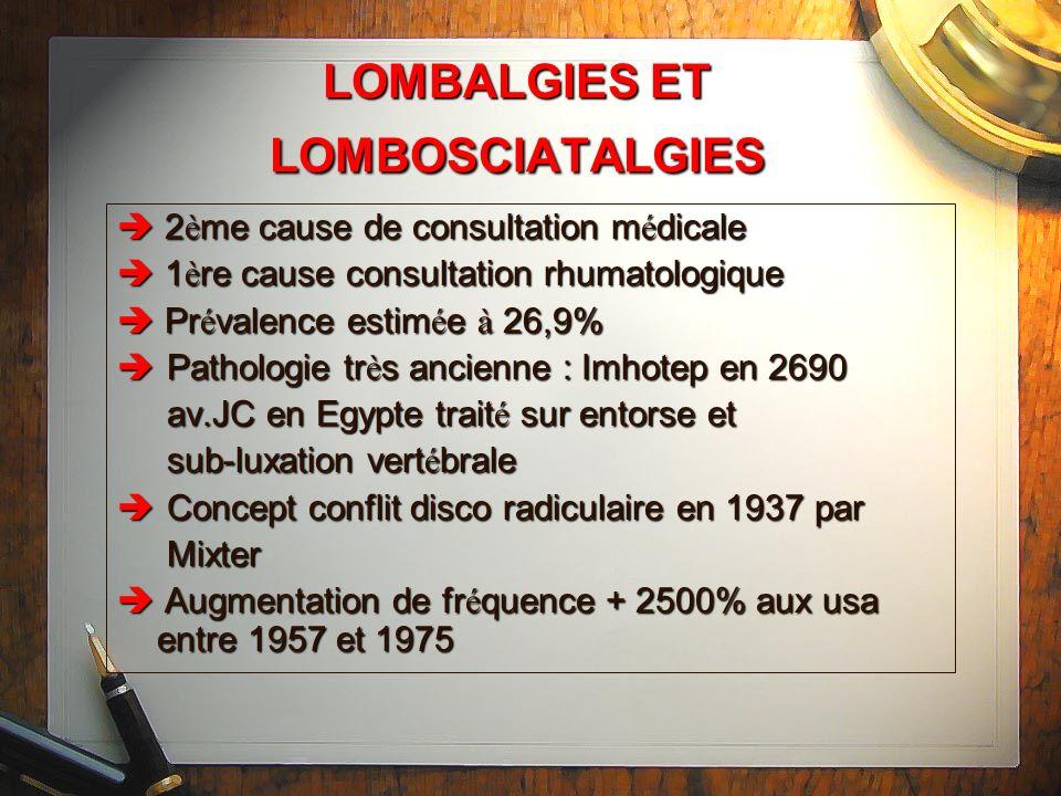 LOMBALGIES ET LOMBOSCIATALGIES