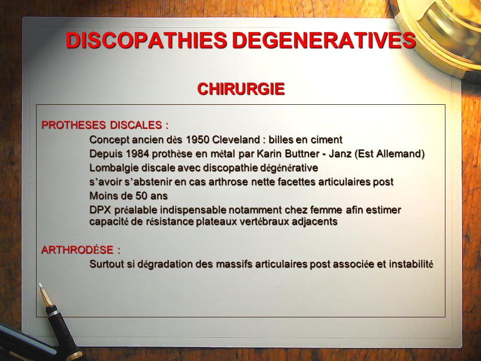 DISCOPATHIES DEGENERATIVES CHIRURGIE