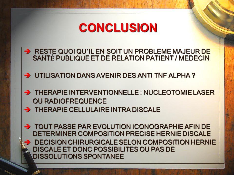 CONCLUSION RESTE QUOI QU'IL EN SOIT UN PROBLEME MAJEUR DE SANTÉ PUBLIQUE ET DE RELATION PATIENT / MEDECIN.