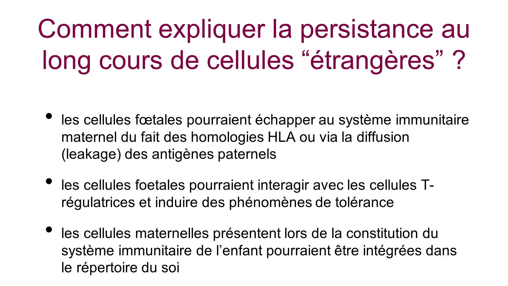 Comment expliquer la persistance au long cours de cellules étrangères