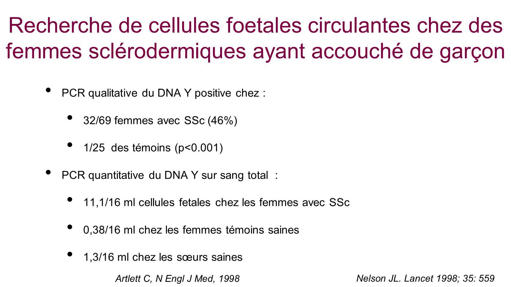 Recherche de cellules foetales circulantes chez des femmes sclérodermiques ayant accouché de garçon
