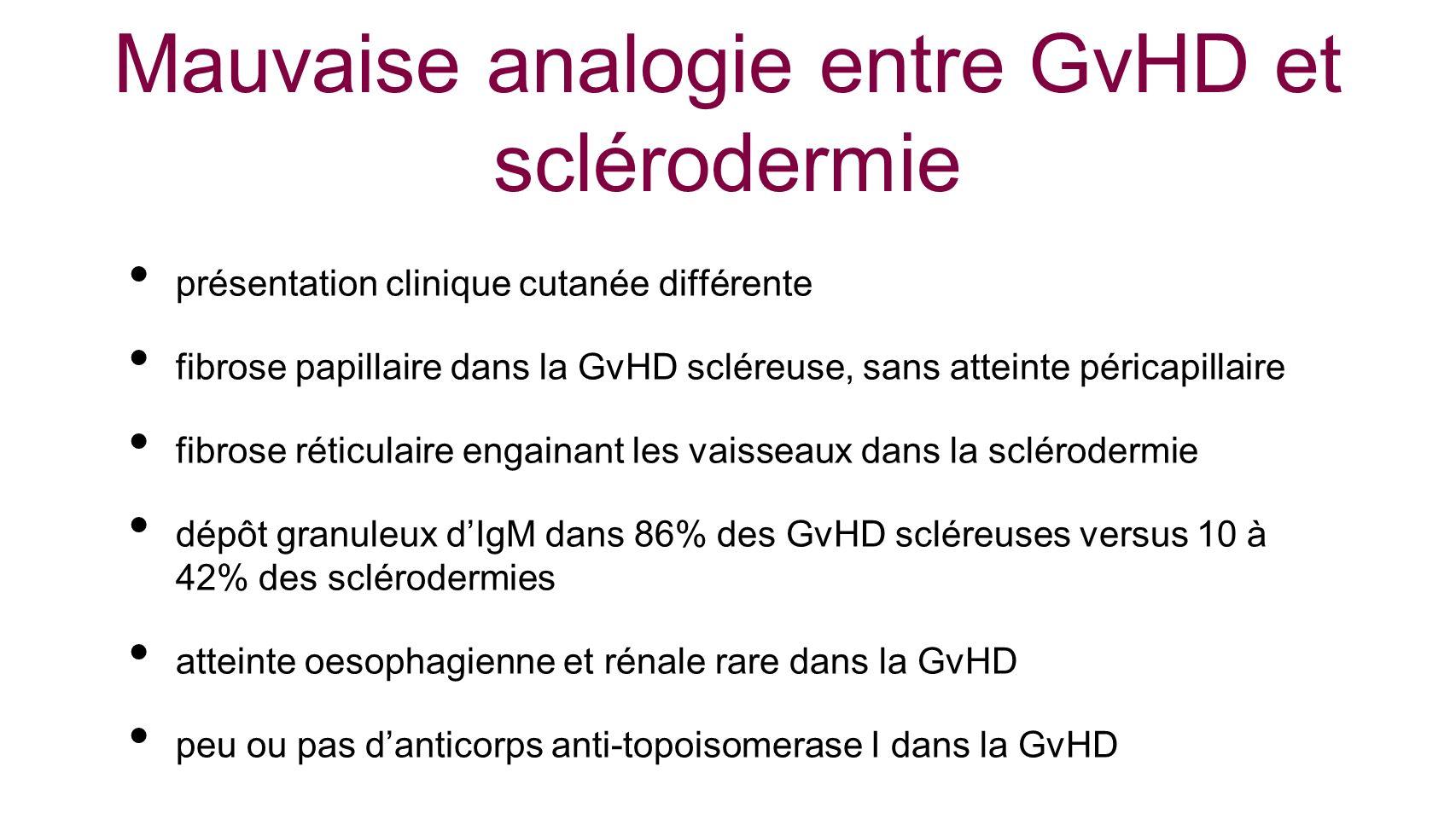 Mauvaise analogie entre GvHD et sclérodermie