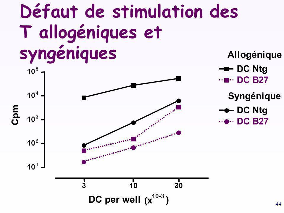Défaut de stimulation des T allogéniques et syngéniques