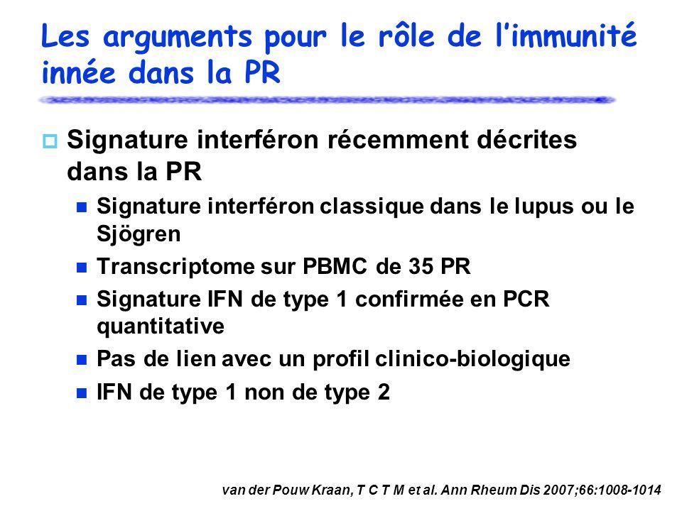 Les arguments pour le rôle de l'immunité innée dans la PR
