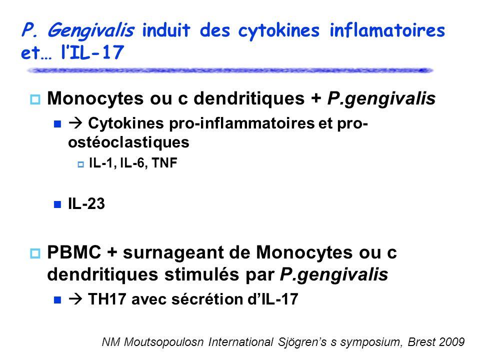 P. Gengivalis induit des cytokines inflamatoires et… l'IL-17
