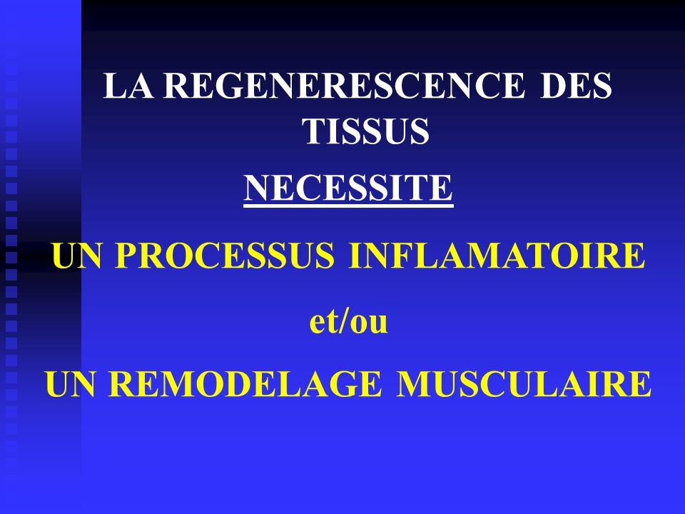 LA REGENERESCENCE DES TISSUS NECESSITE UN PROCESSUS INFLAMATOIRE et/ou