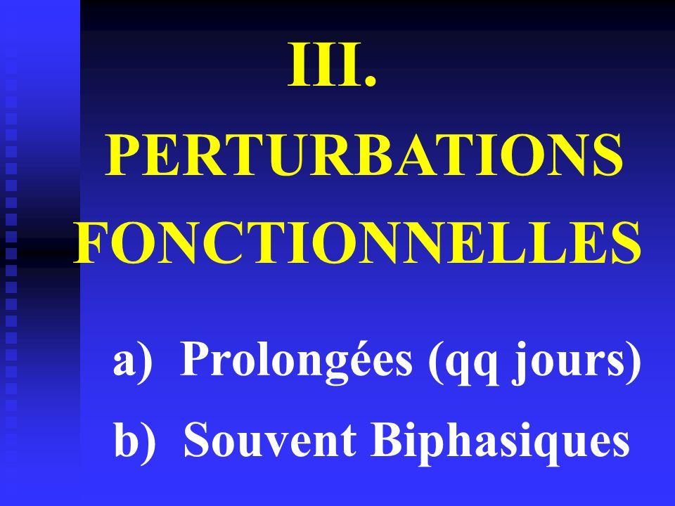 III. PERTURBATIONS FONCTIONNELLES a) Prolongées (qq jours)