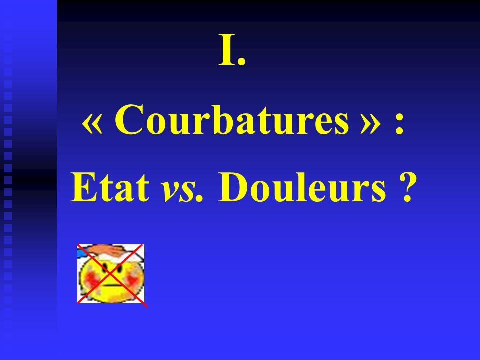 I. « Courbatures » : Etat vs. Douleurs