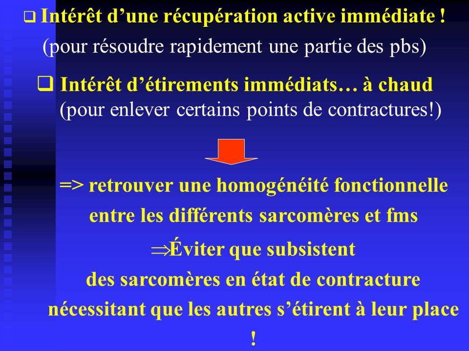 Intérêt d'une récupération active immédiate !