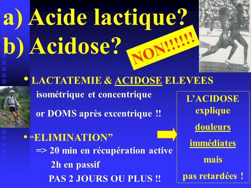 Acide lactique b) Acidose NON!!!!!! LACTATEMIE & ACIDOSE ELEVEES