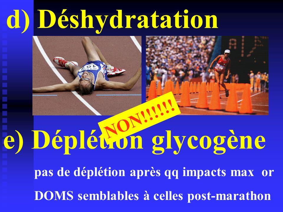 e) Déplétion glycogène