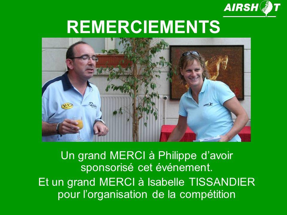Un grand MERCI à Philippe d'avoir sponsorisé cet événement.
