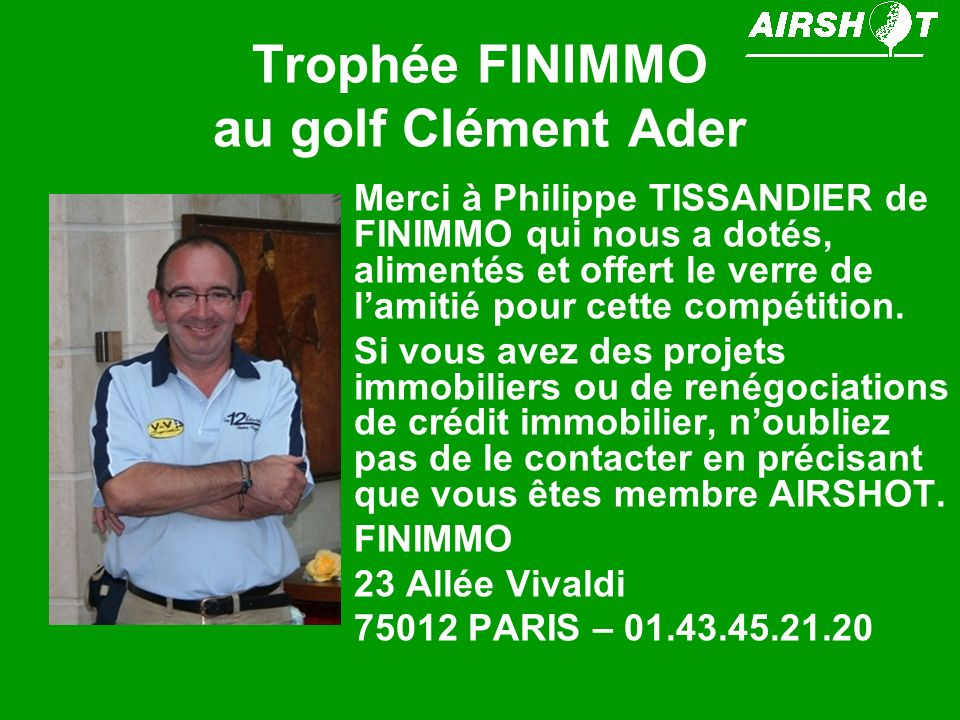 Trophée FINIMMO au golf Clément Ader