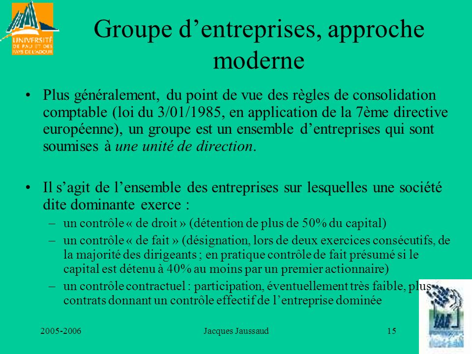 Groupe d'entreprises, approche moderne