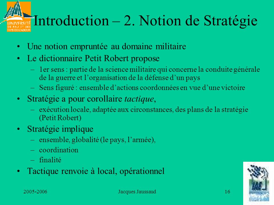 Introduction – 2. Notion de Stratégie