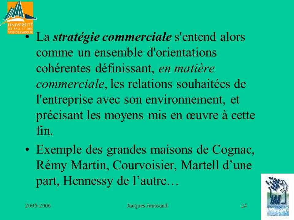 La stratégie commerciale s entend alors comme un ensemble d orientations cohérentes définissant, en matière commerciale, les relations souhaitées de l entreprise avec son environnement, et précisant les moyens mis en œuvre à cette fin.