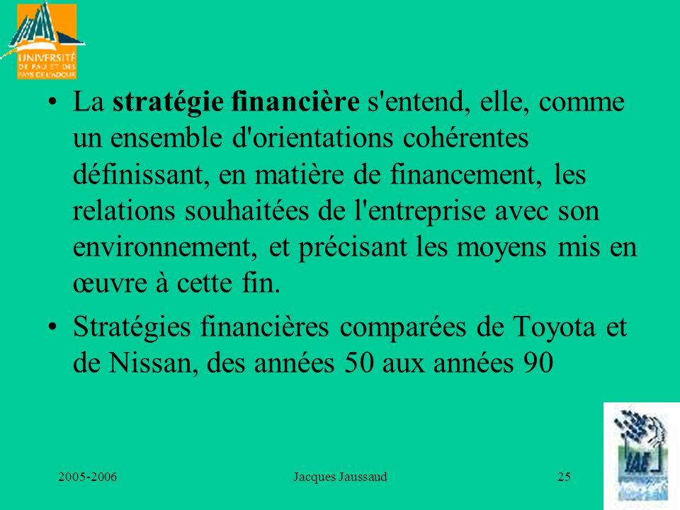 La stratégie financière s entend, elle, comme un ensemble d orientations cohérentes définissant, en matière de financement, les relations souhaitées de l entreprise avec son environnement, et précisant les moyens mis en œuvre à cette fin.