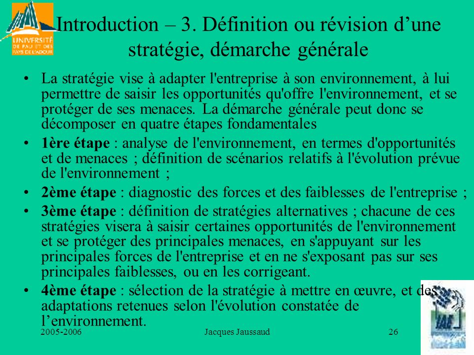 Introduction – 3. Définition ou révision d'une stratégie, démarche générale