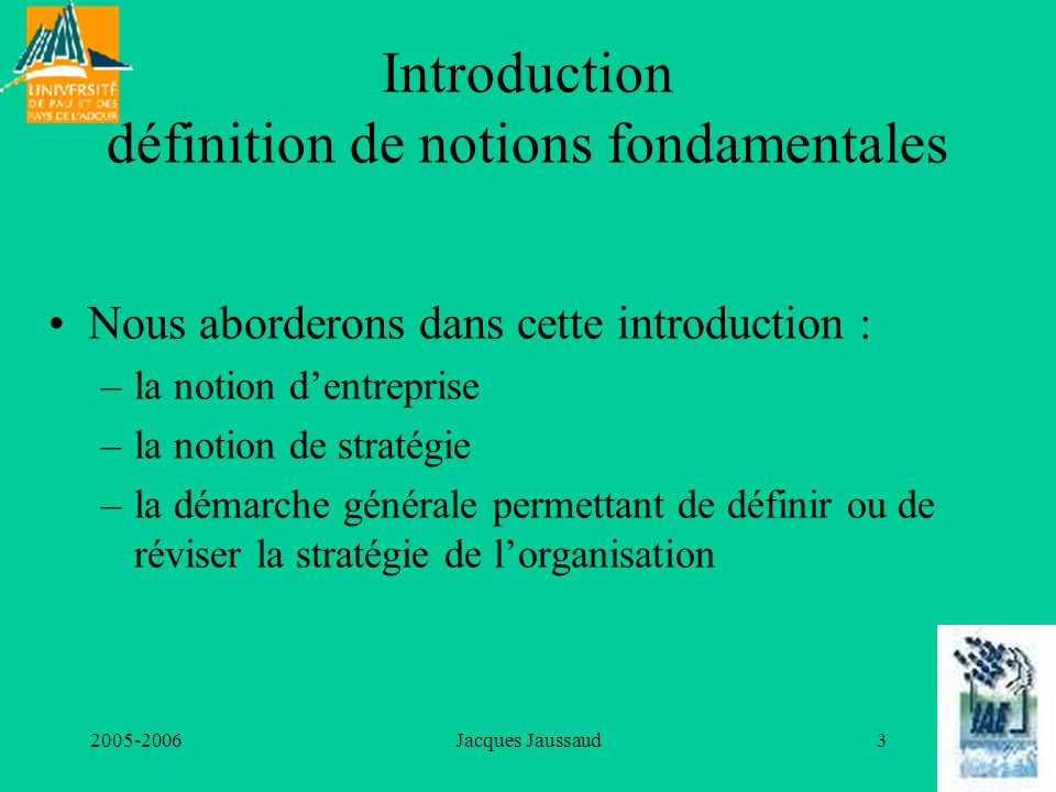 Introduction définition de notions fondamentales
