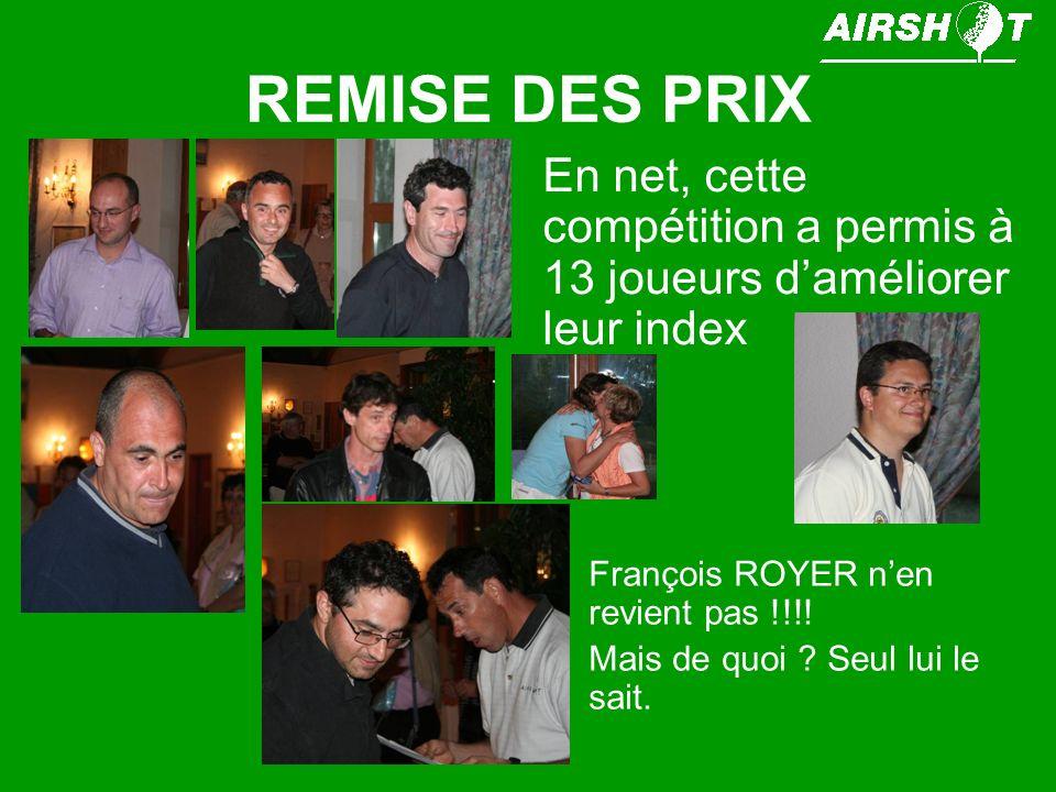 REMISE DES PRIX En net, cette compétition a permis à 13 joueurs d'améliorer leur index. François ROYER n'en revient pas !!!!