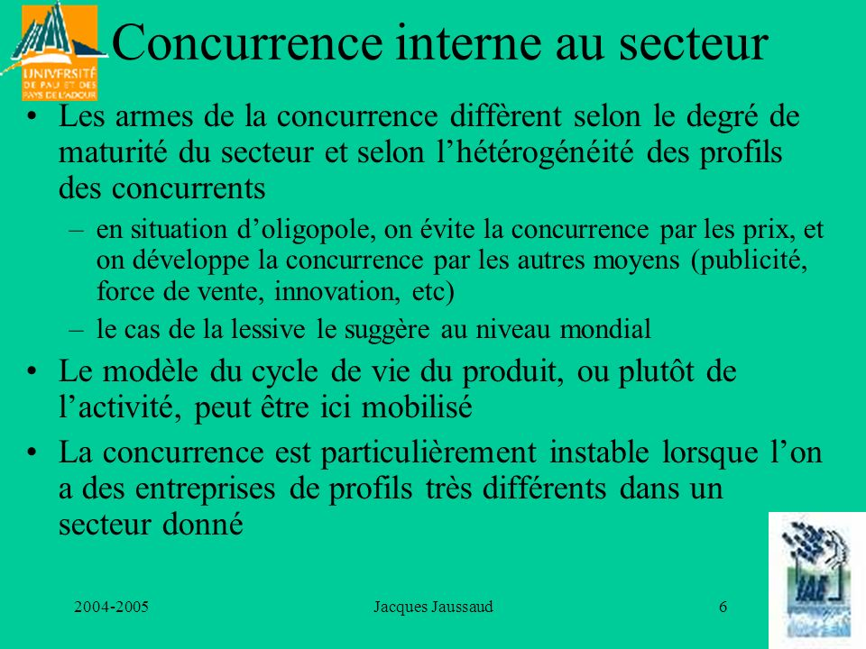 Concurrence interne au secteur