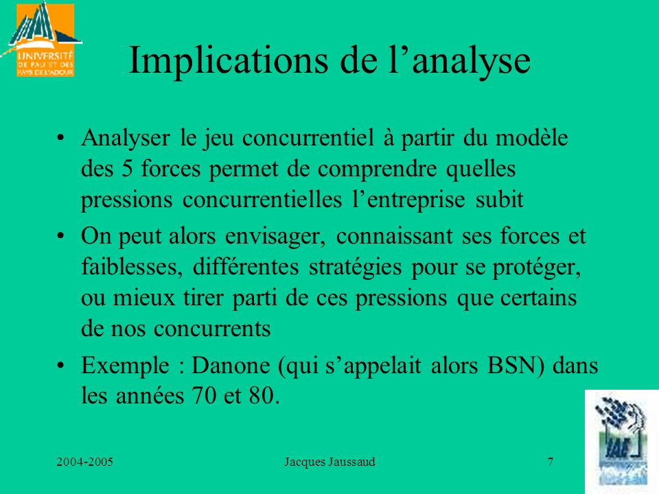Implications de l'analyse