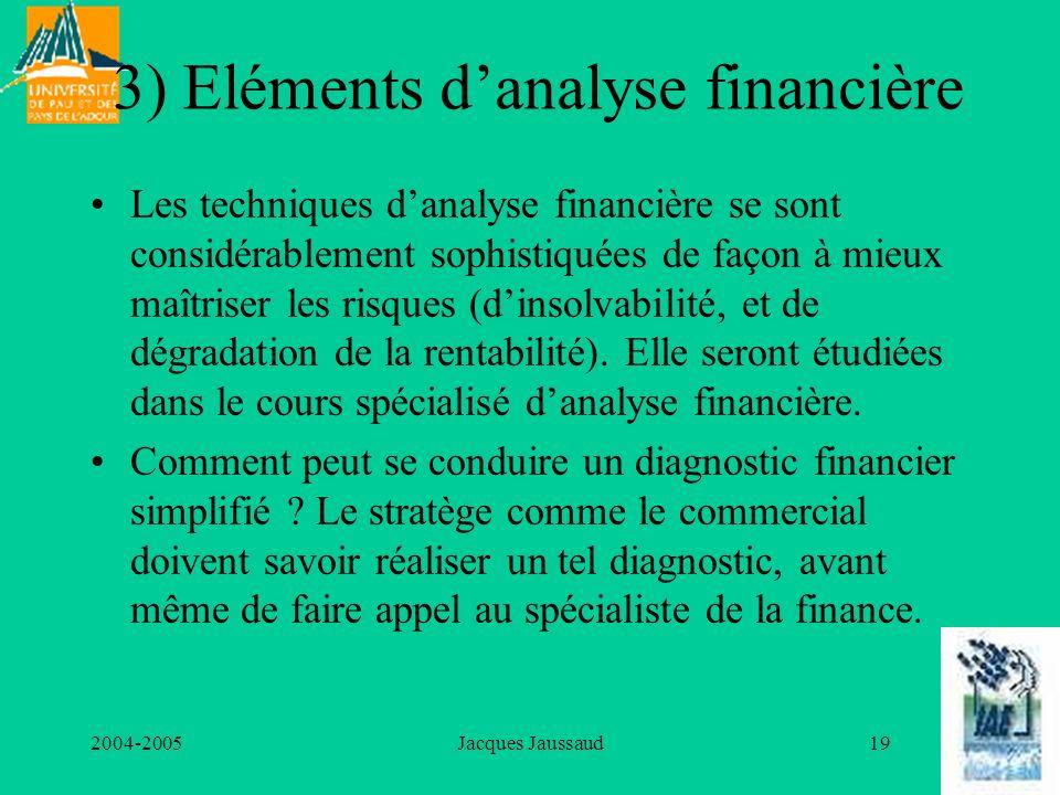 3) Eléments d'analyse financière