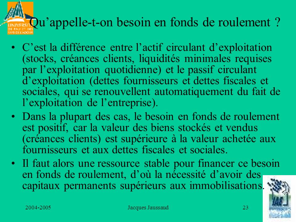 Qu'appelle-t-on besoin en fonds de roulement