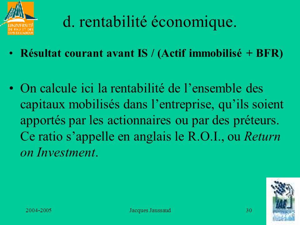 d. rentabilité économique.