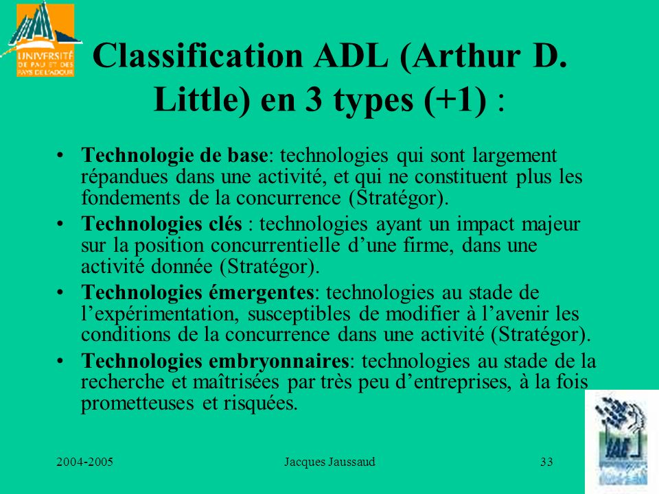 Classification ADL (Arthur D. Little) en 3 types (+1) :