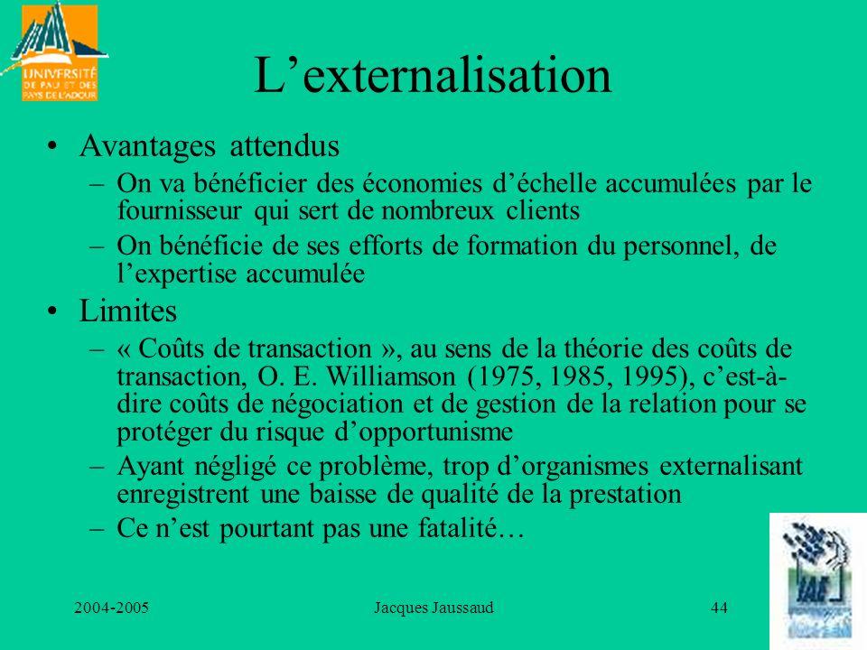 L'externalisation Avantages attendus Limites