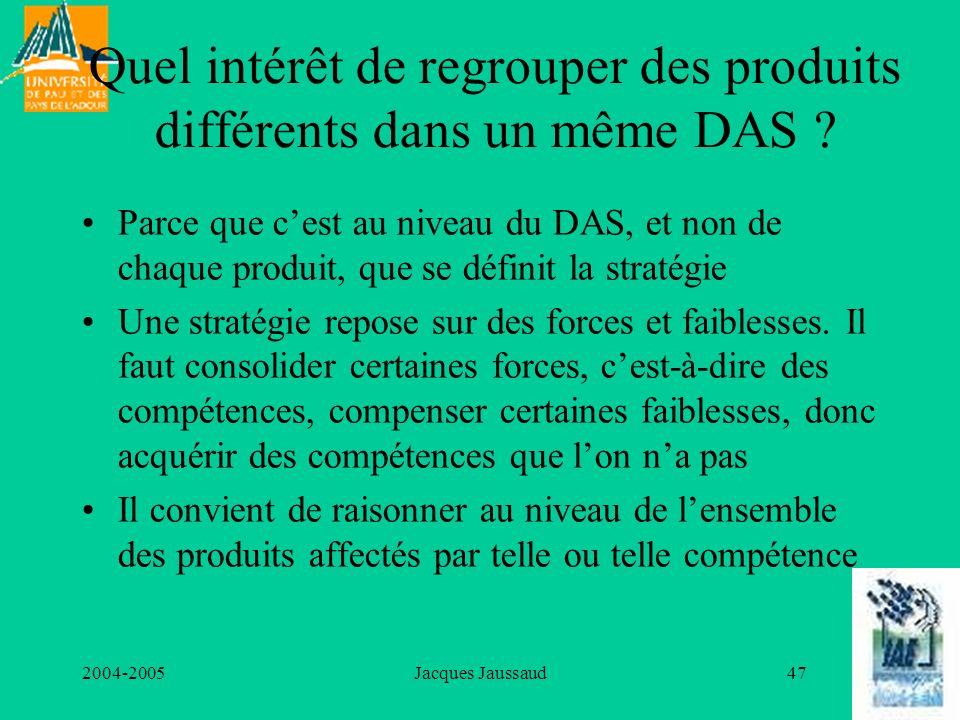 Quel intérêt de regrouper des produits différents dans un même DAS