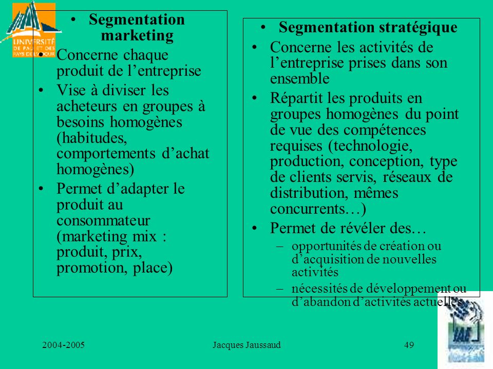 Segmentation marketing Segmentation stratégique
