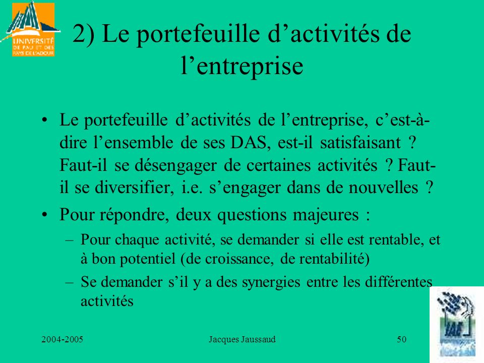 2) Le portefeuille d'activités de l'entreprise