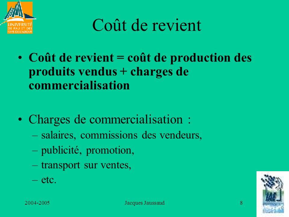Coût de revient Coût de revient = coût de production des produits vendus + charges de commercialisation.